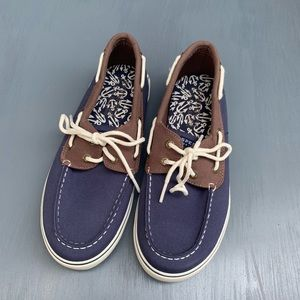 Sperry | Boys Halyard Navy & Brown Boat Shoes NEW